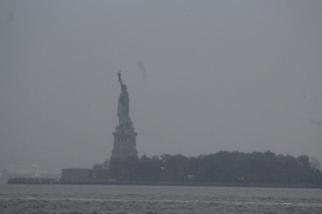 Hello Lady Liberty! Even with the clouds we can spot you!