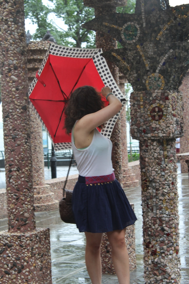 My umbrella got stuck while making a fool of myself!.
